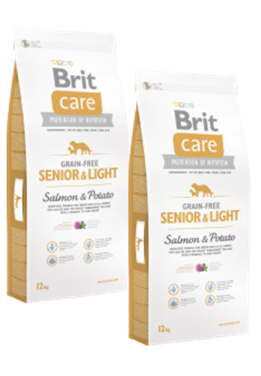 DuoPack  Brit Care Dog Grain-free Senior Salmon & Potato 12kg